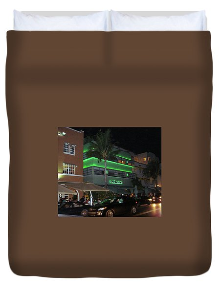 Ocean Drive Miami Beach Duvet Cover