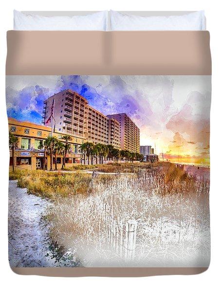 Ocean Drive Sunrise Watercolor Duvet Cover