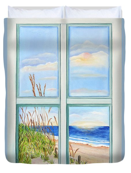 Duvet Cover featuring the painting Ocean Front View by Shelia Kempf