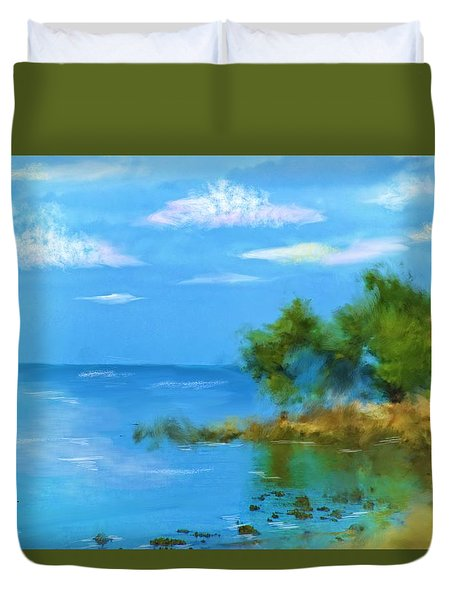 Duvet Cover featuring the photograph Ocean Island by Mary Timman