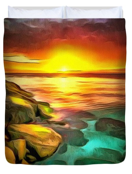 Ocean Lit In Ambiance Duvet Cover