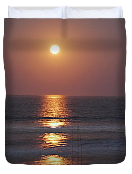 Ocean Moon In Pastels Duvet Cover