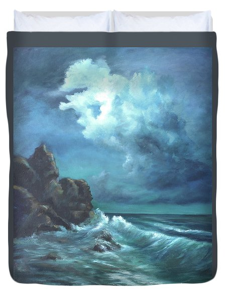 Seascape And Moonlight An Ocean Scene Duvet Cover