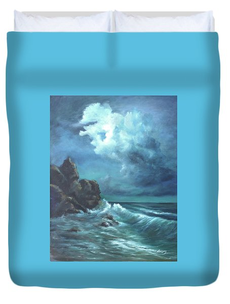 Duvet Cover featuring the painting Seascape And Moonlight An Ocean Scene by Katalin Luczay