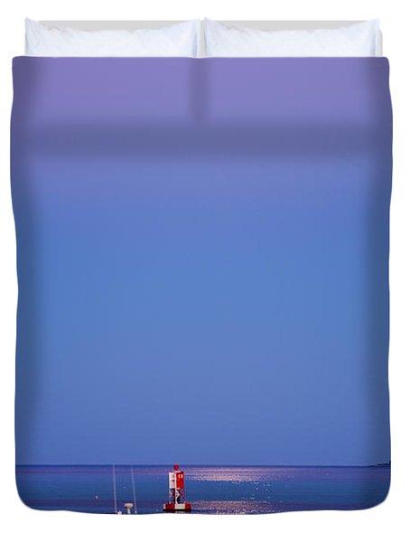 Ocean Moonrise Duvet Cover by Steve Gadomski