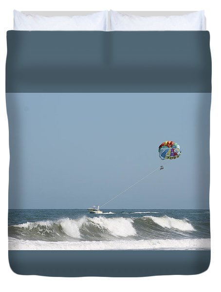 Duvet Cover featuring the photograph Ocean Parasailing by Robert Banach