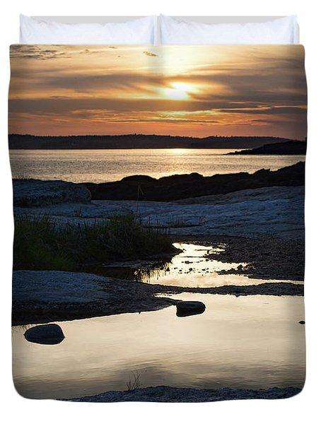 Ocean Point Sunset In East Boothbay Maine  -23091-23093 Duvet Cover