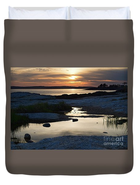 Ocean Point Sunset In East Boothbay Maine  -23091-23093 Duvet Cover