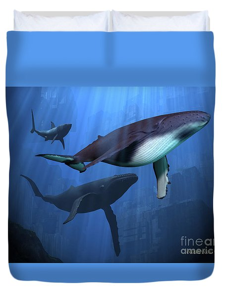 Ocean Ruins Duvet Cover by Corey Ford