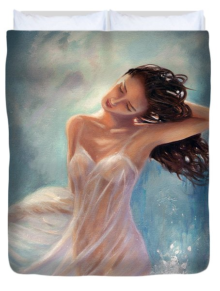 Duvet Cover featuring the painting Ocean Serenade by Michael Rock