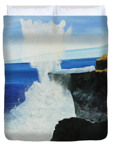 Ocean Spray At Blowhole Duvet Cover by Katie OBrien - Printscapes