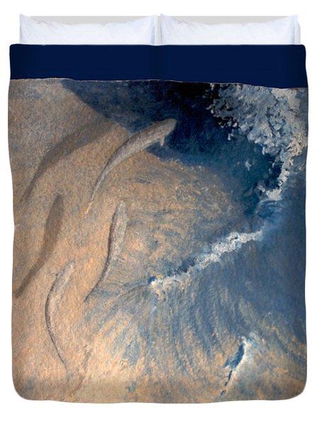 Duvet Cover featuring the painting Ocean by Steve Karol