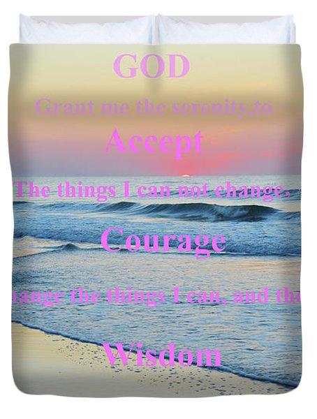 Ocean Sunrise Serenity Prayer Duvet Cover