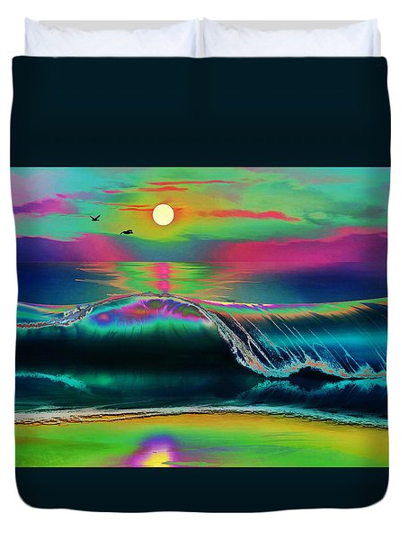 Ocean Sunset Abstract Duvet Cover