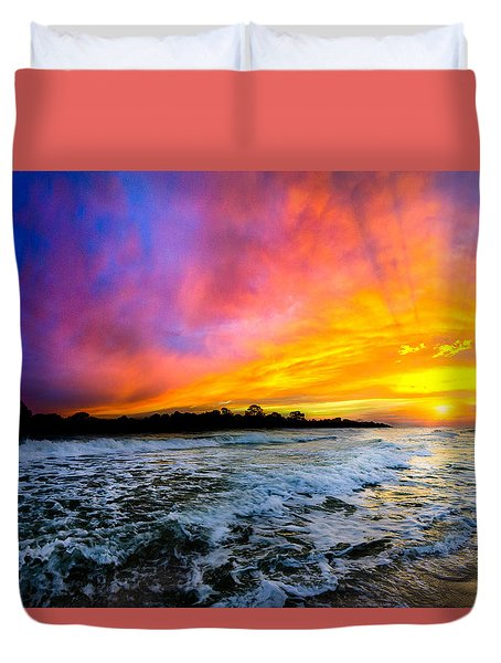 Ocean Sunset Landscape Photography Red Blue Sunset Duvet Cover by Eszra Tanner