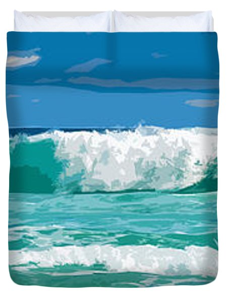 Ocean Surf Illustration Duvet Cover by Phill Petrovic