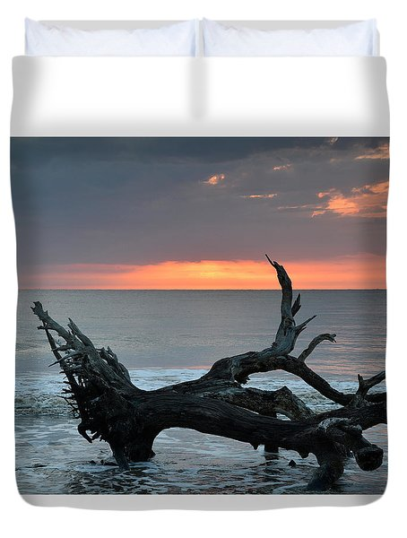 Ocean Treescape At Sunrise Duvet Cover by Bruce Gourley