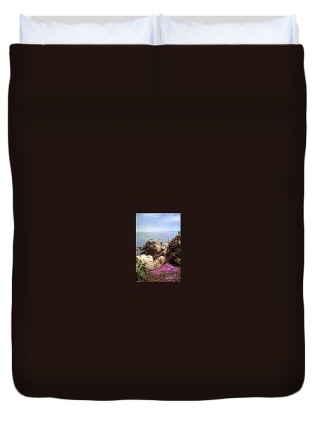 Ocean View Rock And Flowers Duvet Cover