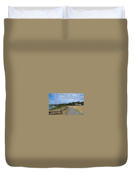 Duvet Cover featuring the painting Ocean Walk Victoria Bc by Rod Jellison