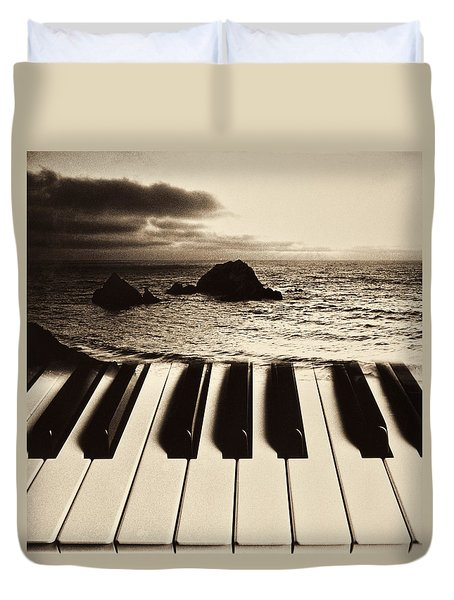 Ocean Washing Over Keyboard Duvet Cover by Garry Gay