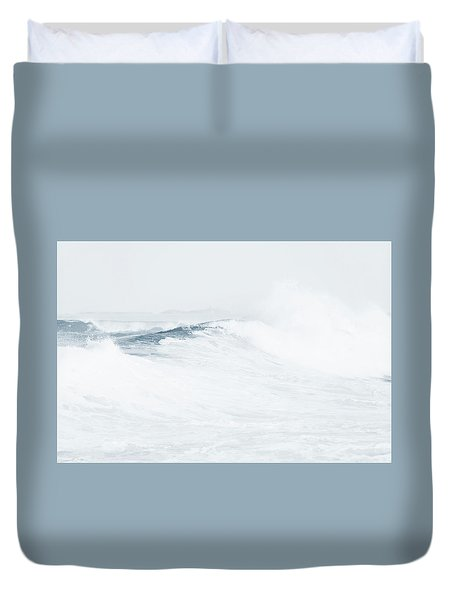 Duvet Cover featuring the photograph Ocean Wave. Series Ethereal Blue by Jenny Rainbow