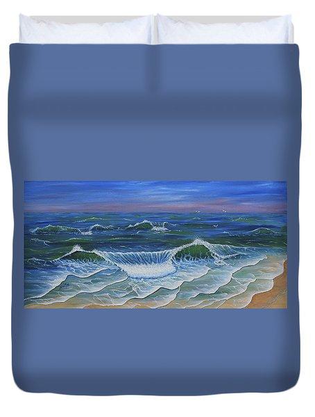 Duvet Cover featuring the painting Ocean Waves Dance At Dawn Original Acrylic Painting by Georgeta Blanaru