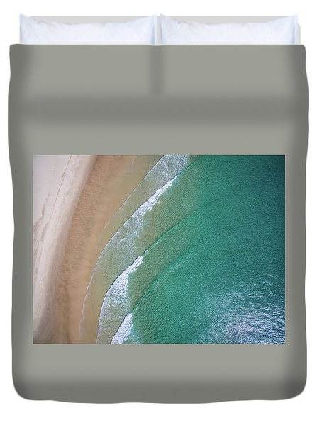 Ocean Waves Upon The Beach Duvet Cover