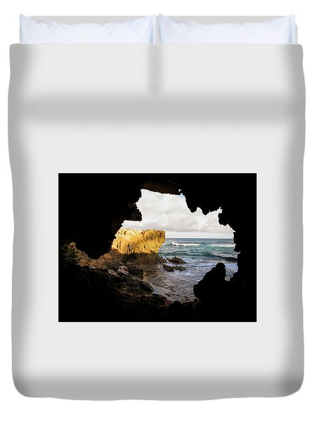 Oceanfront Cave Duvet Cover