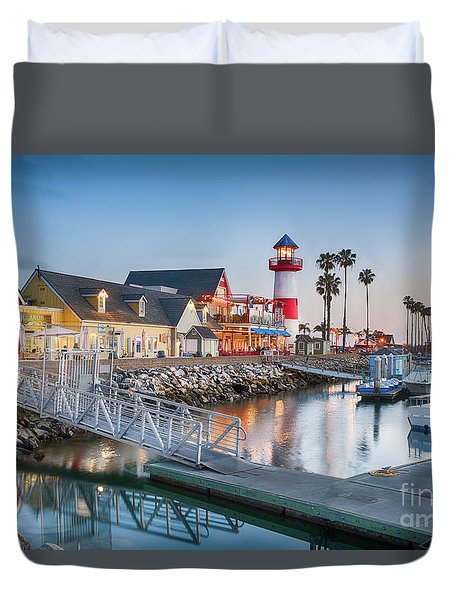 Oceanside Harbor Village At Dusk Duvet Cover
