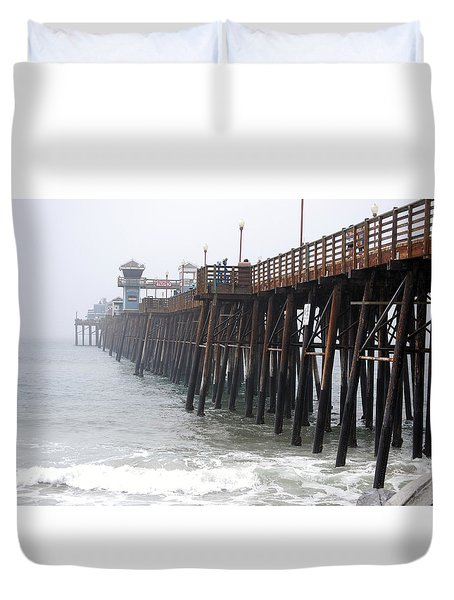 Oceanside Pier  Duvet Cover by Bill Dutting