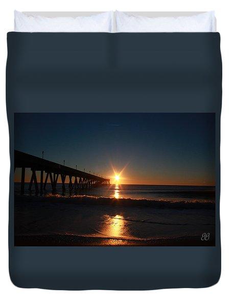 Duvet Cover featuring the photograph Oceanview Sunrise by Geri Glavis