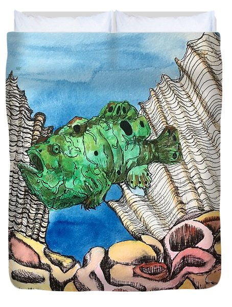Ocellated Frogfish Duvet Cover