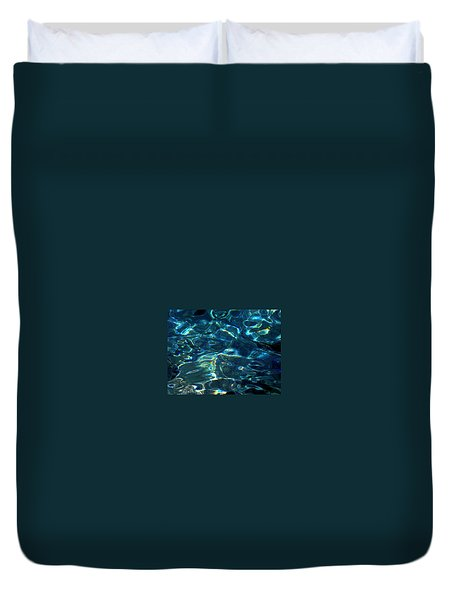 Duvet Cover featuring the photograph Ocean Water Reflections Island Santorini Greece by Colette V Hera  Guggenheim