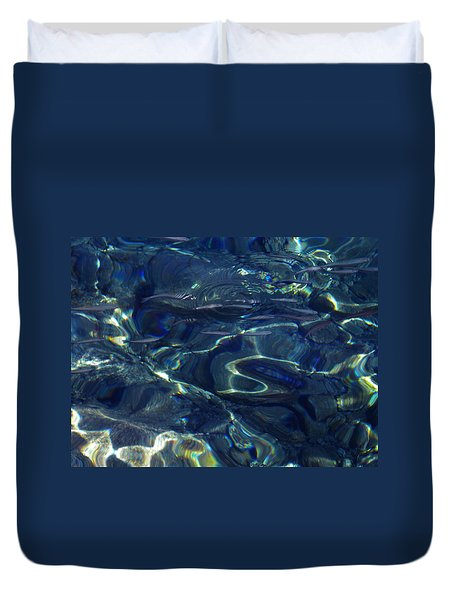 Duvet Cover featuring the photograph Ocean Water Reflections.santorini Island Greece by Colette V Hera  Guggenheim