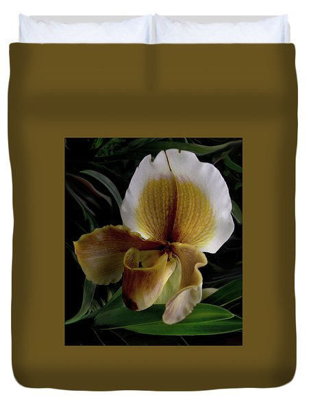 Ochre And White Orchid Duvet Cover