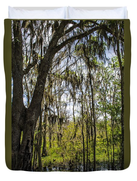 Duvet Cover featuring the photograph Ocklawaha Spanish Moss In The Swamp by Deborah Smolinske