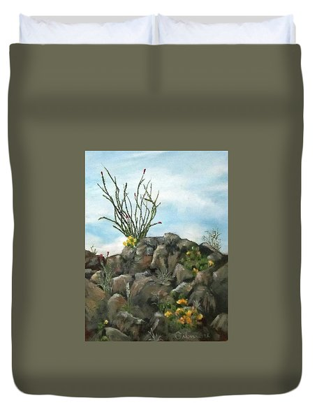 Duvet Cover featuring the painting Ocotillo In Bloom by Roseann Gilmore