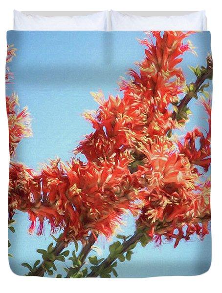 Ocotillo In Bloom Duvet Cover