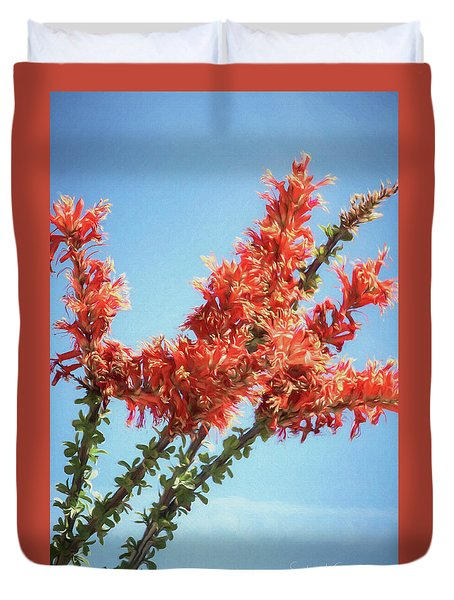 Ocotillo In Bloom Duvet Cover