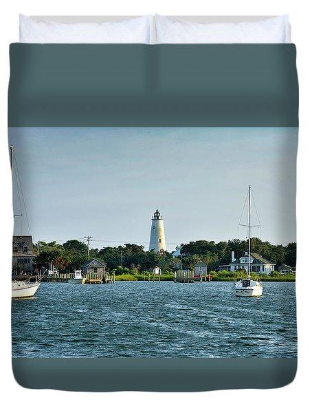 Ocracoke Island Lighthouse From Silver Lake Duvet Cover