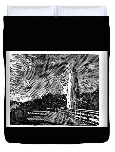 Duvet Cover featuring the painting Ocracoke Island Lighthouse II by Ryan Fox