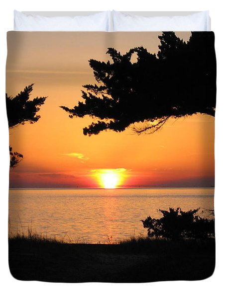 Ocracoke Island Winter Sunset Duvet Cover