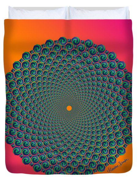 Octagonal Peacock Feathers Duvet Cover