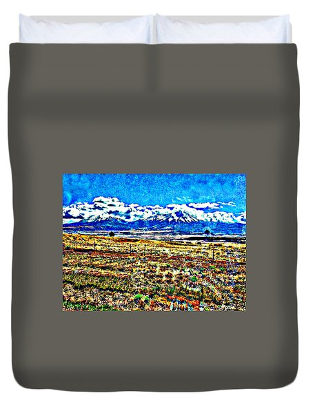 October Clouds Over Spanish Peaks Duvet Cover by Anastasia Savage Ealy
