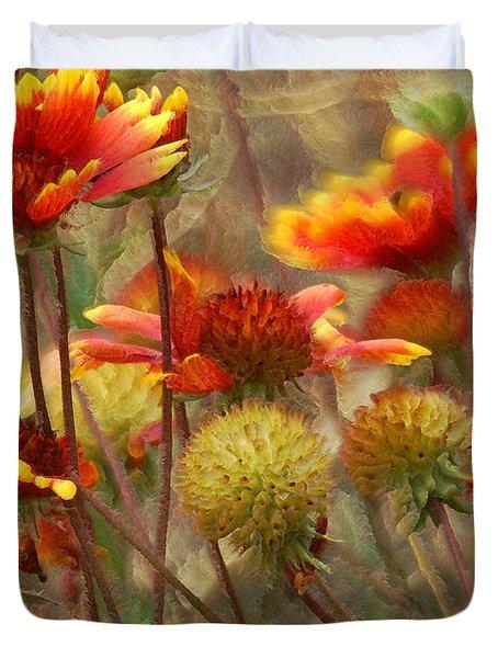 October Flowers 2 Duvet Cover by Ernie Echols