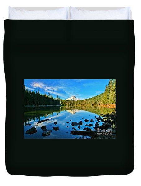 October On The Lake Duvet Cover by Sheila Ping