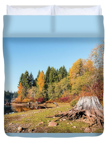 October On The Lake Shore Duvet Cover