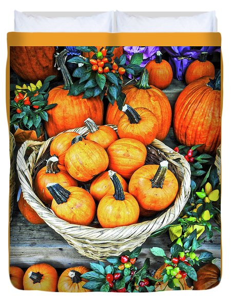Duvet Cover featuring the photograph October Pumpkins by Joan Reese