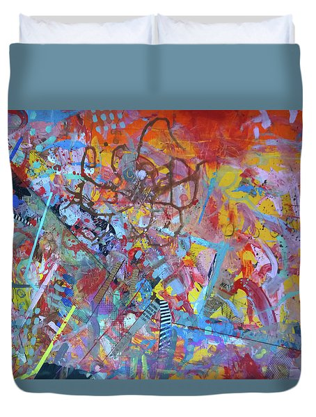 Duvet Cover featuring the painting Octopus Playground by Robert Anderson