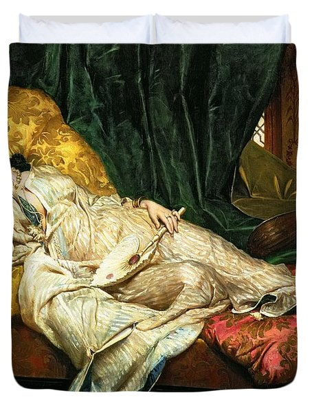 Odalisque With A Lute Duvet Cover by Hippolyte Berteaux